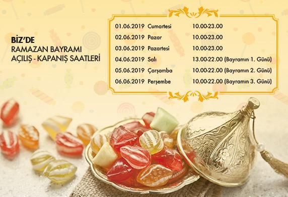 BİZ'de Ramazan Bayramı Açılış-Kapanış Saatleri